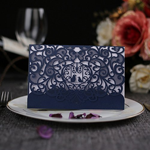 WPPOWER Romantic Laser Cut Wedding Invitation Card Two Lovebirds Carved Pattern Wedding Card Hollow Out Wedding Banquet Party Supply (Pack of 10) (Navy Bue)