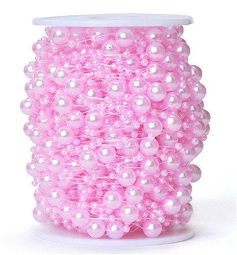 Derker Simple Round Faux Pearl String Ribbon Wrap BULK 200 Feet - Wedding Decorations, Party Supplies,Bridal Wedding Bouquet,Garland Centerpiece Decoration (Pink Bead Garland)