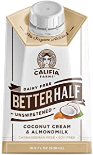 product image for Califia Farms - Unsweetened Better Half Coffee Creamer, 16.9 Oz (Pack of 6) | Half and Half | Coconut Cream and Almond Milk | Non Dairy | Plant Based | Keto| Sugar Free | Zero Carb | Shelf Stable