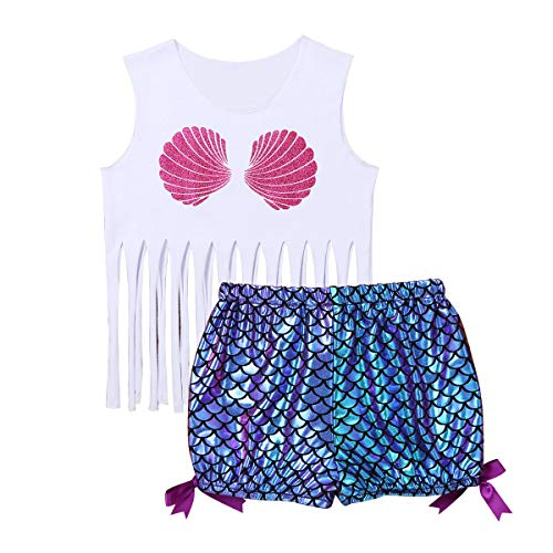 Freebily Baby Girls Mermaid Sleeveless Glittery Shell Tank Top Vest with Fish Scales Printed Shorts Sunsuit Playwear Outfits (18-24 Months, White&Purple) -