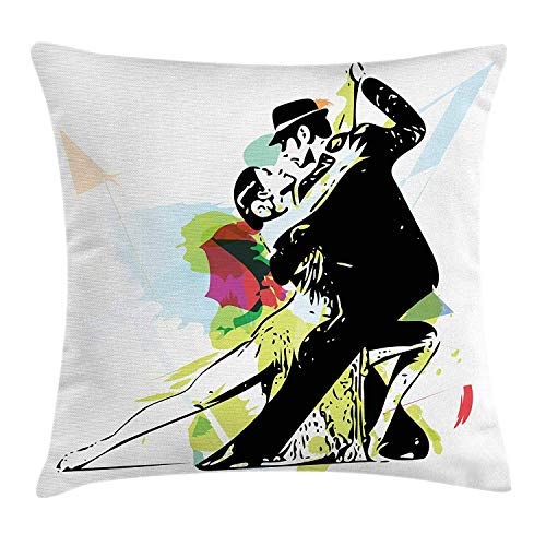 Queolszi Dance Throw Pillow Cushion Cover, Abstract Art Illustration Latino Dancing Couple in Costumes Ballroom Performance, Decorative Square Accent Pillow Case, 18 X 18 inches, Multicolor ()