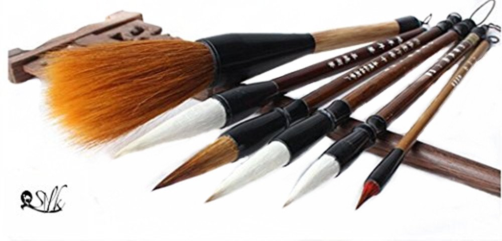2500 Silk Art China Hu Writing Brush Chinese Calligraphy Kanji Japanese Sumi Drawing Brushes 6 piece/set (weasel hair 1pcs ,wool hair 1 pcs,weasel70%/wool30% L M S SS 4pcs)MBT6