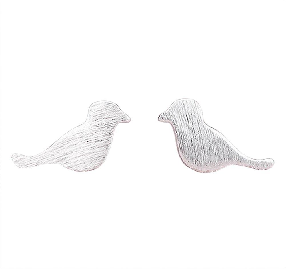 Hosaire Girl's Lovely Silver Drawing Birds Stud Earrings Women's Fashion Jewelry