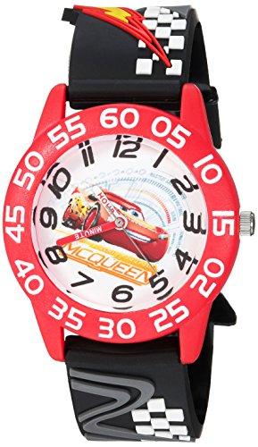 DISNEY Boys Cars 3 Lightning Analog-Quartz Watch with Plastic Strap, Black, 15 (Model: WDS000289)