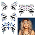 Face JewelsFace Jewels Glitter Temporary Tattoo, 6 Pcs Body Rhinestone Jewelry Stickers Crystal Mermaid Eyes Tears Gems Stones for Festival Party Women