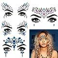 Face JewelsFace Jewels Glitter Temporary Tattoo, 6 Pcs Body Rhinestone Jewelry Stickers Crystal Mermaid Eyes Tears Gems Stones for Festival Party Women