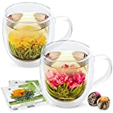 Teabloom Extra-Large Insulated Double Wall Glass Mugs & Blooming Tea Flowers (Set of 2 Mugs + 2 Tea Balls) - 18 oz Mugs - Borosilicate Glass - 2 Gourmet Green Tea Flowers Included - Twin Harmony Mugs