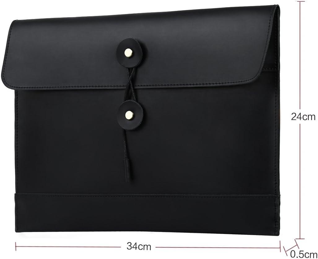 Leathario Leather Envelope Folder Case Portfolio Mens Clutch Portfolio Sleeve Case for MacBook Air 11.6 inch,12 inch Apple Ipad Padfolio File folder A4 document organizer Brown black-1203
