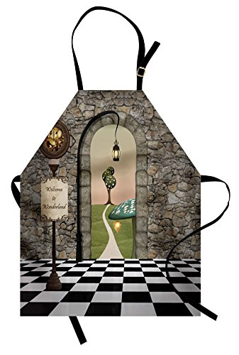 Ambesonne Alice in Wonderland Apron, Welcome Wonderland Black and White Floor Landscape Mushroom Lantern, Unisex Kitchen Bib Apron with Adjustable Neck for Cooking Baking Gardening, -