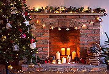 Baocicco Christmas Tree Shiny Lights Brick Fireplace Backdrop 8x6ft  Photography Background Star Pendant Candle Light Bauble Balls Decorations  Children