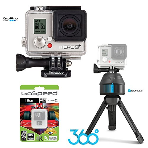 21d4c2906fc464 GoPro HERO3+ SILVER 10MP Full HD 1080p 60fps Built-In Wi-Fi Waterproof  Wearable Camera Adventure 8GB Edition with GoPole Scenelapse 360 Time-Lapse  Device ...