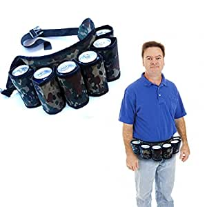 Beer Belt Holster - Soda and Beer Can Holder Travel Pouch with Adjustable Belt Strap for Traveling, Hiking, Camping, Beach, Barbeques | Camouflage Beer 6 Pack Holster | Portable Beverage Organizer