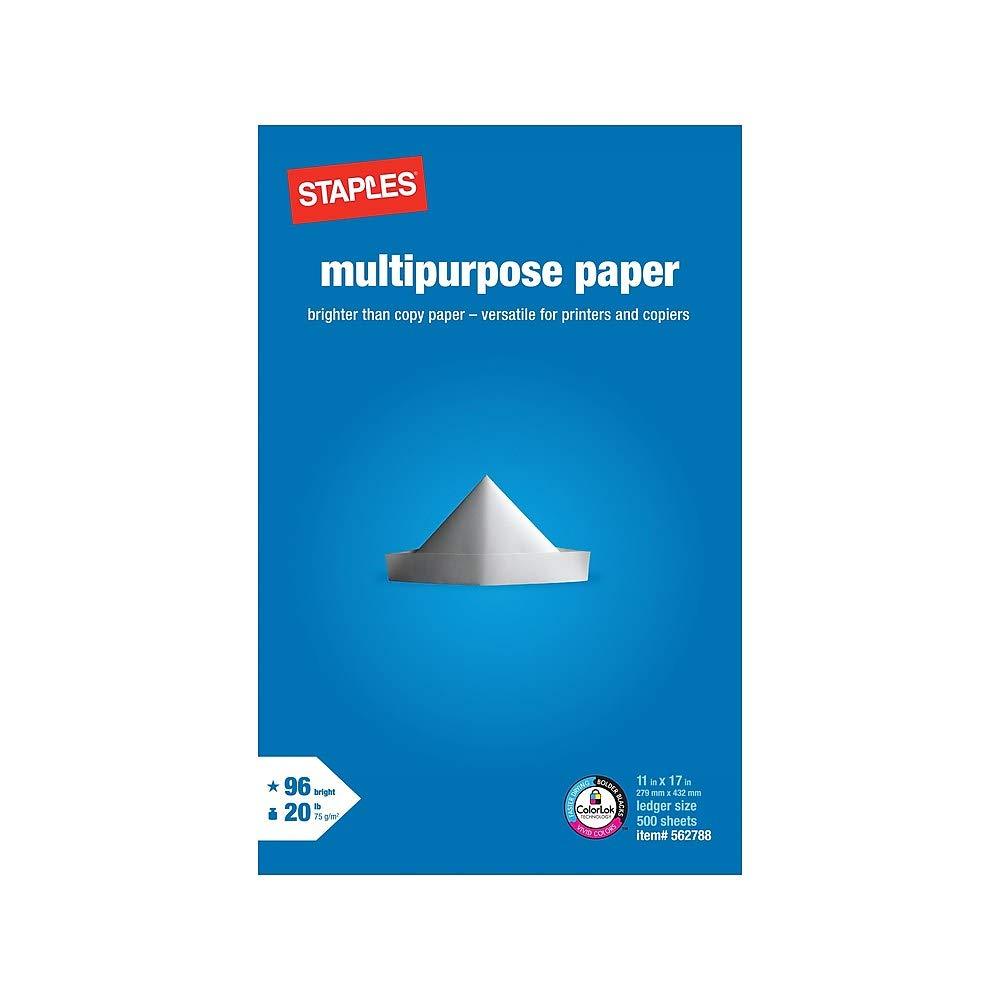 Staples Ledger Size Multipurpose Inkjet Laser Printer Paper, 11 x 17 inch, 20 Lb., 96 Bright White, Acid Free, Ream, 500 Total Sheets (562788)