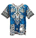Vipada Handmade's Dashiki Shirt Unisex African Shirt Men Dashiki Cotton Ethic Shirt (Light Blue)