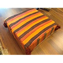 Moroccan Hand Woven Kilim Wool Ottoman Pouf Chair in Multicolor Stripes