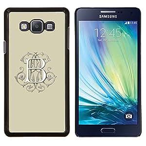B Letra inicial Beige Caligrafía Blanca- Metal de aluminio y de plástico duro Caja del teléfono - Negro - Samsung Galaxy A7 / SM-A700
