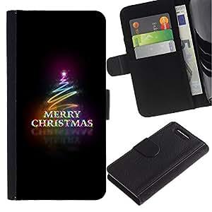 Stuss Case / Funda Carcasa PU de Cuero - Navidad Negro Neon Lights ?rbol - Sony Xperia Z3 Compact