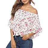 EINCcm Women Clothing Slash Neck, Summer Women t-Shirt Casual Loose Off Shoulder Vintage Printed Ruffles Sleeves Tops