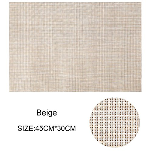 Arte de prudencia Placemats Washable, Set of 4 Brown Heat-resistant Non-slip PVC Table Place Mats, Woven Vinyl and Stain Resistant for Dining Table & Garden,30x45cm (Beige)