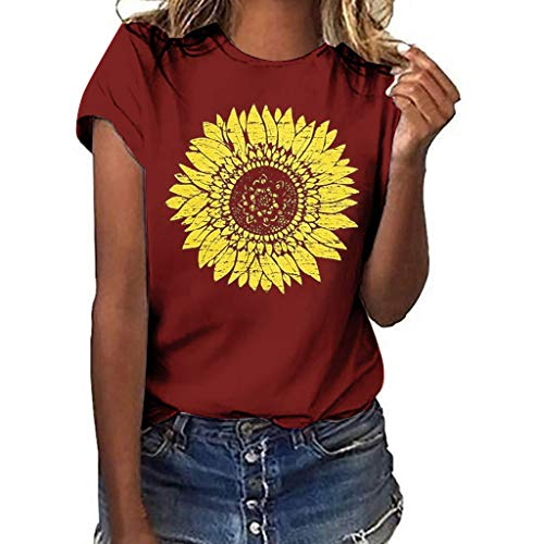 DondPO Sunflower T-Shirt Women Cute Funny Graphic Tee Teen Girls Casual Short Sleeve Tunic Shirt Tops Blouse