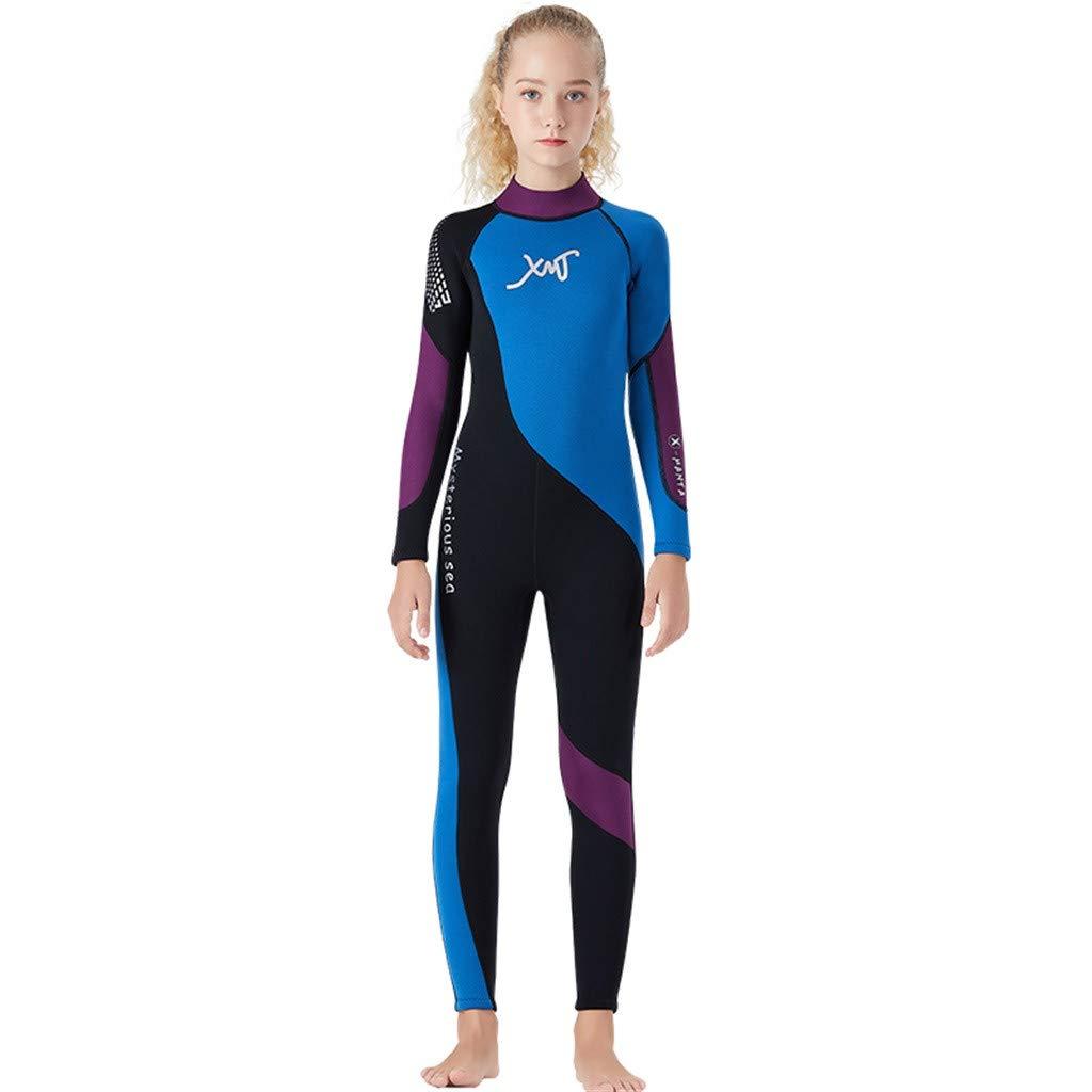 Kids Scuba One-Piece Diving Suit Neoprene Snorkeling Wetsuit Surfing Swimwear Blue