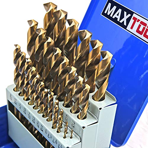 MaxTool 29 Piece Twist Jobber Length Drill Bit Set; 5% Cobalt High Speed Steel HSS M35; 135° Split Point Fully-Ground; JBS35G10R029
