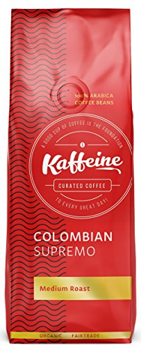 Kaffeine Koffee Organic Colombian Supremo Medium Roast Ground Coffee (2 LB)