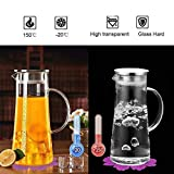 Glass Jug,BOQO Glass Pitcher Water Jug,Borosilicate Glass Carafe and stainless steel Lid,Coaster(53 oz/1.5L)