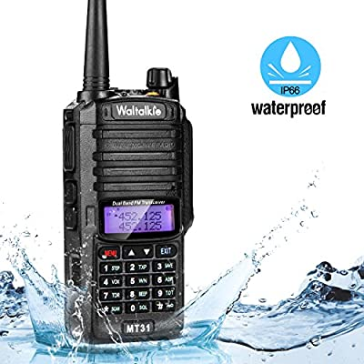 Walkie Talkie, Waltalkie High Power Two Way Radio Walkie Talkie Transceiver with Built-in LED Flashlight, IP66 Waterproof & Dustproof for Indoor & Outdoor Activities - Black