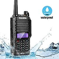 Wireless Radio Transceiver, IP66 Waterproof & Dustproof Two Way Radio Walkie Talkie with Headset/LED Flashlight/Battery/Charger for Indoor & Outdoor Activities