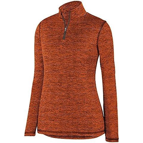 Augusta Sportswear Women's Intensify Black Heather 1/4 Zip Pullover S Orange ()