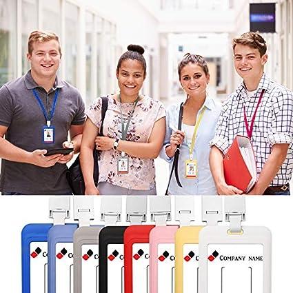 tessere per studenti Red 2 x Porta badge verticale con cordino da collo biglietti da lavoro targhetta per nome