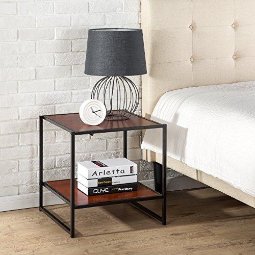 Zinus Dane Modern Studio Collection 20 Inch Square Side / End Table / Night Stand / Coffee Table, Brown