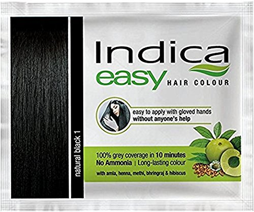 100 Pc Indica Easy10 Minutes Herbal Hair Color Shampoo Base Natural Black Herbs by Indica