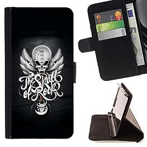 For Samsung Galaxy J3(2016) J320F J320P J320M J320Y Case , El cráneo de la roca- la tarjeta de Crédito Slots PU Funda de cuero Monedero caso cubierta de piel