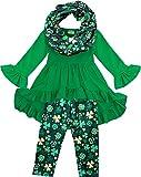 Angeline Boutique Clothing Girls ST Patrick's Day Shamrock Clover Hi-Low Scarf Set Green/Gold 6/XL