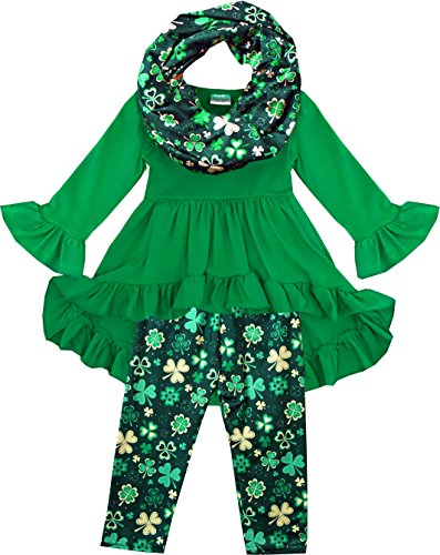 Angeline Boutique Clothing Girls ST Patrick's Day Shamrock Clover Hi-Low Scarf Set Green/Gold 3T/S