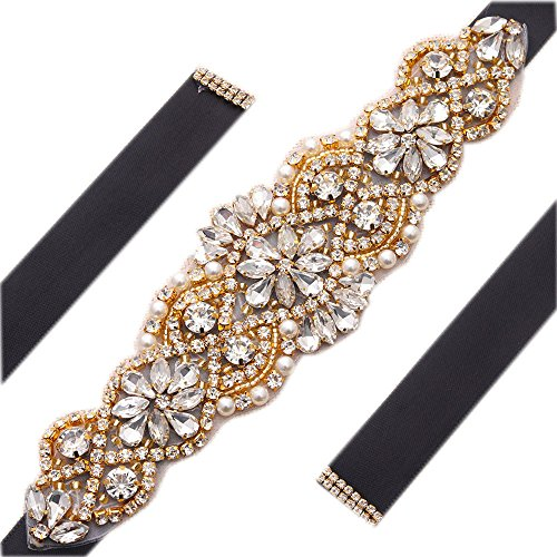 Black Sash Crystal Applique Bridal Belts In Gold With Pearls Beaded On Wedding Prom Dress-7.7In2In (Gold Dress Belt)