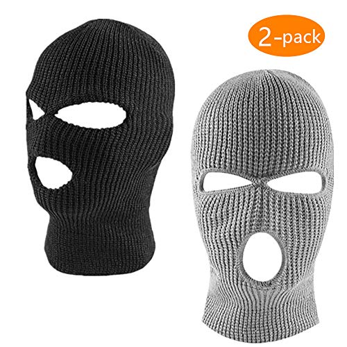 ZONLY 2Pack Knitted 3 Hole face ski mask, Adult Winter Balaclava Warm Knit Full Face Mask for Outdoor Sports]()