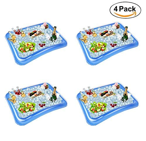 Festar 4-Pack Inflatable Ice Serving Bar Coolers for Parties, Salad BBQ Picnic Ice Food Drinks Buffet Server Tray for Indoor Outdoor Party ()
