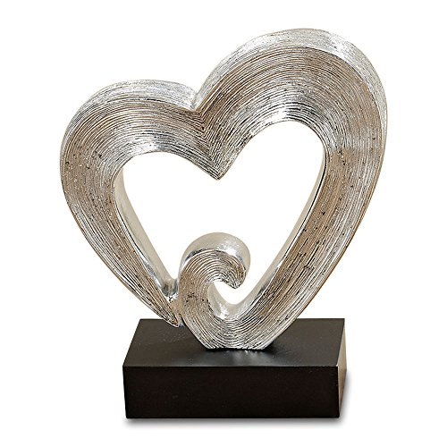 Heart Sculpture - Whole House Worlds The White Nights Infinite Heart, Decorative Modern Sculpture, Black Gallery Base, Brilliant Silver, Incised Lines, Hand Cast, Poly Resin, 10 1/2 Inches Tall (27cm), By