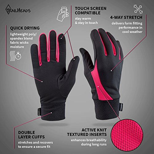 TrailHeads Running Gloves | Lightweight Gloves with Touchscreen Fingers -Black/Bright Coral (Large) by TrailHeads (Image #1)