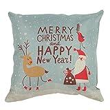 "Paialco Christmas Decor Linen Cloth Santa Reindeer Throw Pillow Case 16""x16"" (42x42cm)"