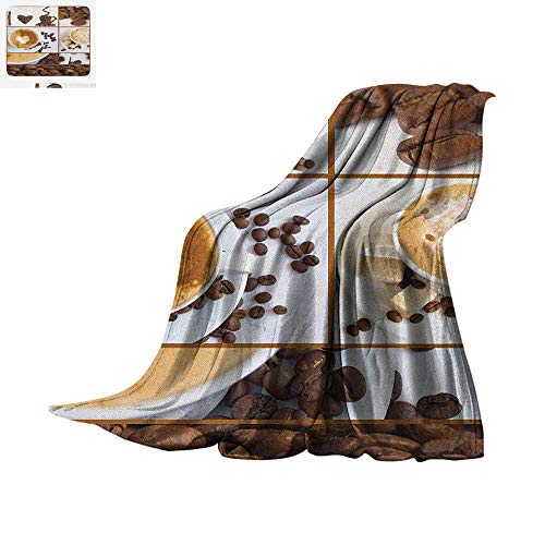 Kitchen Throw Blanket Coffee Themed Collage of Beans Mugs Hot Foamy Drink with a Heart Macro Aroma Photo Warm Microfiber All Season Blanket for Bed or Couch 50
