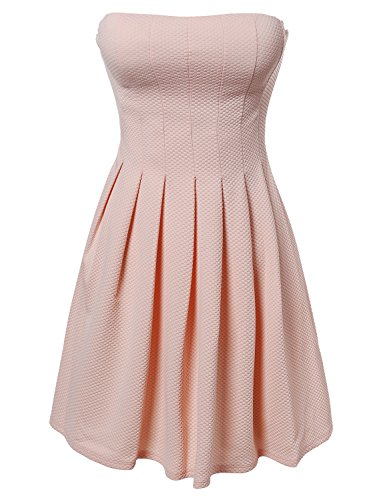Made by Emma Sleeveless Strapless Prom Party Cocktail Mini A Line Dress Peach (Strapless Emma Dress)