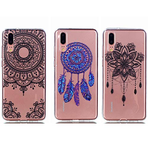 - Huawei P20 Lite Case - 3 Pcs Shock-Absorption TPU Rubber Skin Bumper Case Transparent Crystal Clear Cute Colorful Print Patterns Ultra Slim Protective Cover by AIIYG DS - Mandala