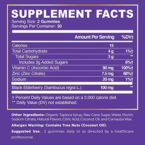 True Recovery Immune Support Elderberry Gummies with Vitamin C and Zinc - Immune System Booster - Antioxidant Flavonoids, Black Elderberry for Adults and Kids in 60 Delicious Gummies