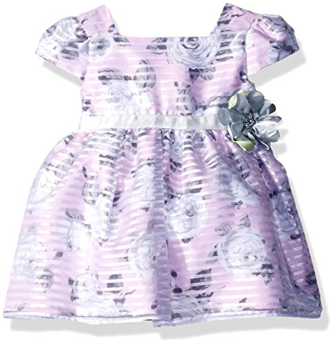Sweet Heart Rose Little Girls Floral Stripe Organza Overlay Dress, Pink/Grey, 18 Months Sweetheart Rose Baby Girl