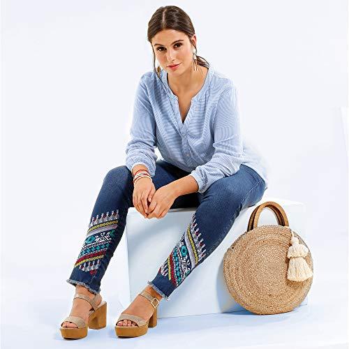 Bolsillos Azul 5 Medio Vaquero Mujer Bellísima 023535 qnBxE57Xv