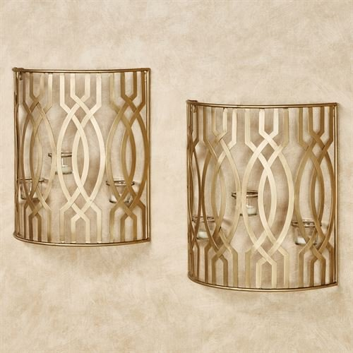Touch of Class Byanca Wall Candleholders Satin Gold Pair